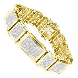 Jewelry - 14K Yellow gold round diamond men fine bracelet je